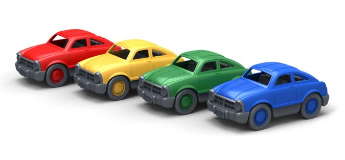 Mini Fastback Set of 4 Cars , Green Toys , Made In America 2012 , Recycled Milk Cartons